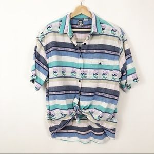 VTG 90's Button Front Striped Futures Shirt